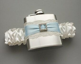 Wedding Garter, Bridal Garter with Flask, Something Blue Garter, Ivory Garter with Pale Blue - FLASK GARTER - Gift For Bride or Bridesmaids