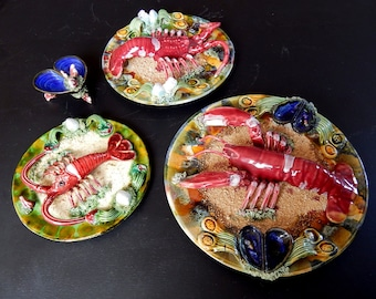 3 Vintage Portugese Palissy Majolica Lobster and Crayfish Plates Caldas Da Rainha
