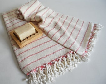 SET Turkish BATH Towel Peshtemal and Head-Hand Towel Peshkir - Very Soft Bamboo (Red striped) Beach, Spa, Swim, Pool Towels and Pareo