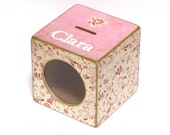 Girls Coin Bank Box Wood Piggy Bank with Window for kids - Pink Floral - Personalized