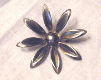 Brooch Art Deco Silver Flower Pin Vintage