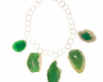 GREEN AGATE NECKLACE slices on Sterling Silver Chain