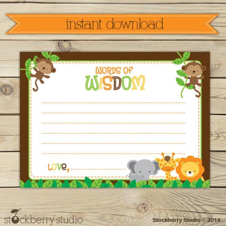 Safari Animals Baby Shower Words Of Wisdom By Stockberrystudio