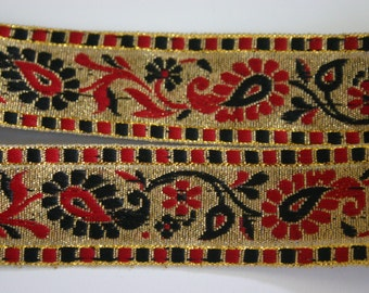 Sexy Paisleys - Black Red and Gold Bollywood Trim in Paisleys (1 meter)