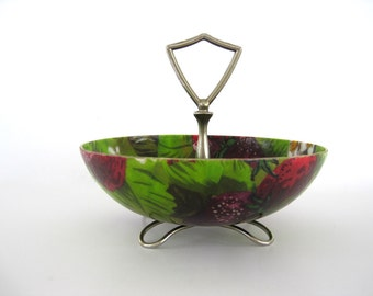 Vintage Fiberglass Bowl Small Candy Nuts Feet Handle Green Strawberry Red Fruit gift under 10