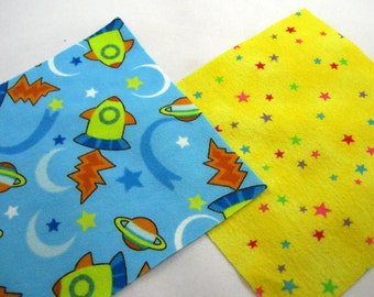 Rocket Ships Planets and Stars Flannel Quilt Squares No.3