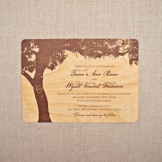 Real Wood Wedding Invitations Oak Tree Silhouette
