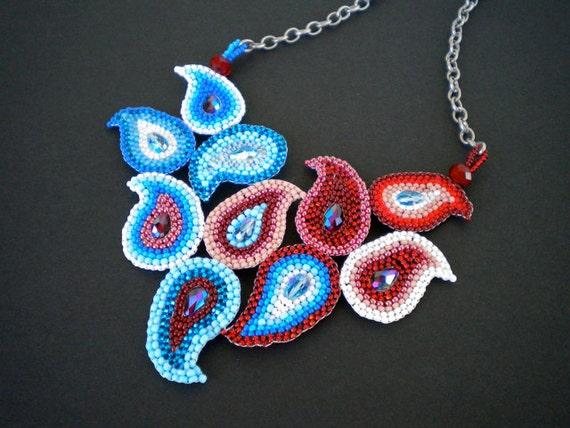 Blood, Sweat, and Tears Paisley - brick stitch beadwork statement necklace