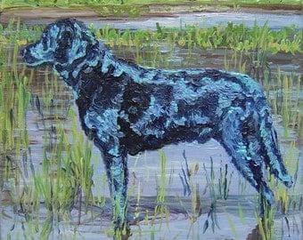 Black Dog, Giclee on Canvas