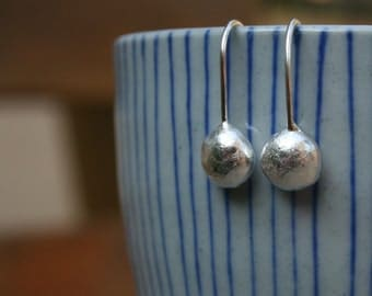Long sterling silver pebble earrings, Recycled silver earrings
