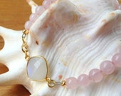 Rose Quartz Gemstone Bracelet with Moonstone Connector, Pink Bracelet, Moonstone Bracelet, Gold Pink Bracelet, Stacking Bracelet, Valentine