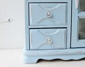 Shabby Chic English Sky Jewelry Box with Creamy White Interior -Vintage Jewelry Armoire-Distressed Box-French Decor-Armoire Cabinet Case