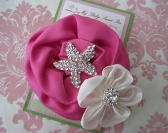 girl hair clips - summer hair bows - starfish hair clips - girl barrettes