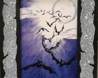 Winged Fury Print with Hand Painted Cardboard Mat (Grey) SMALL VERSION