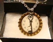Steampunk Pendant Necklace with Key over Watch Clock Face (1530)