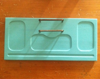 Vintage Valet, Vanity Tray, Display, Upcycled in Bahama Blue, Shabby Chic, beaders, crafters, collectors