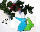 Naughty Love Bunnies Ornament Origami Rabbits Blue Green Humping Bunnies Funny Pornigami Naughty or Nice 005