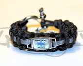 Epilepsy Medical Alert ID ALLOY Charm on 550 Paracord Survival Strap Bracelet with Stainless Steel Shackle