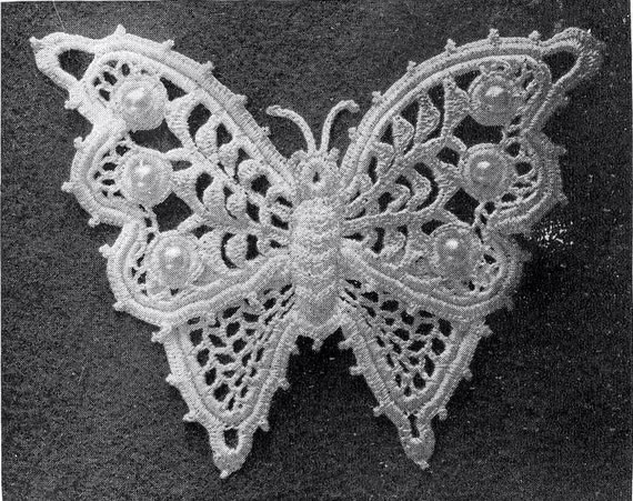 Free Download Crochet Butterfly Pattern : 1912 Irish Crochet Butterfly With Pearl Beads Applique