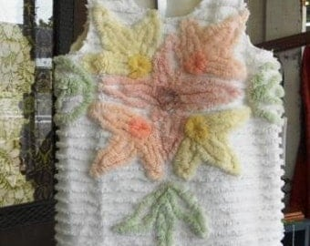 Vintage Chenille Toddler's Sundress or Jumper, OOAK, Hand-Made with Love!