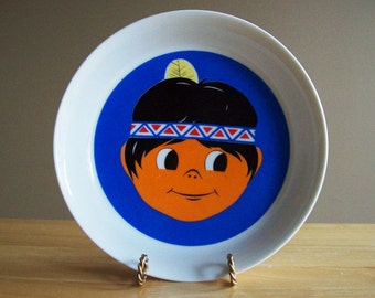 Vintage Childs Bowl Bavaria Vohenstrauss Johann Seltmann Porcelain Native American Indian Boy