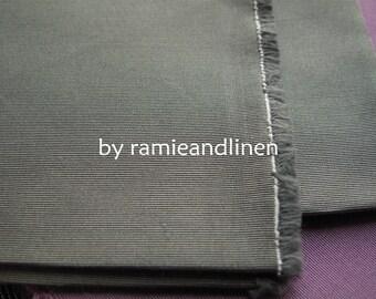 "silk fabric, Ribbed silk cotton blend fabric, grey,  half yard by 54"" wide"