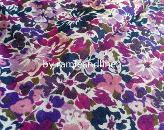 """polyester cotton fabric, vintage style retro floral print fabric, one yard by 58"""" wide"""