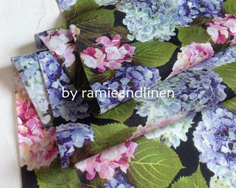 "silk fabric, digital printed hydrangea floral silk cotton blend fabric, 30"" by 52"" wide, sold by piece"