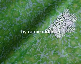 """silk fabric, Spring green floral print Silk Organza, half yard by 42"""" wide"""