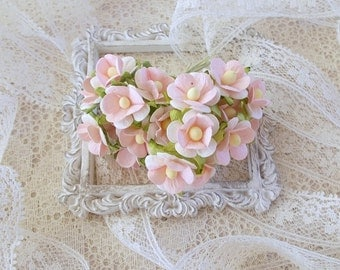 Scrapbooking, Mulberry Paper Flowers, Little Retros, Wedding, Mixed Media, 2 tone Pink and white