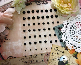72 Self Adhesive Pearls in Black For Scrapbooking Mini Albums Paper Crafts Tags Cards and DIY