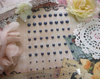 72 Self Adhesive Pearls in Steel Blue For Scrapbooking Mini Albums Paper Crafts Tags Cards and DIY