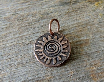 Copper Pendant, Aztec Design, Copper Metal Clay, Southwest, Tribal, Jewelry For Him, Rustic, Handmade Findings