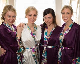Bridesmaid Robes, PURPLE, wedding robes, bridesmaid silk robe, dressing gown, personalized silk robe, kimono robes, floral robe, bridal robe