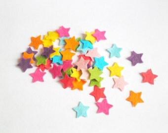 Felt stars confetti,  small rainbow star felt shapes. 5/8 inch / 1.6 cm