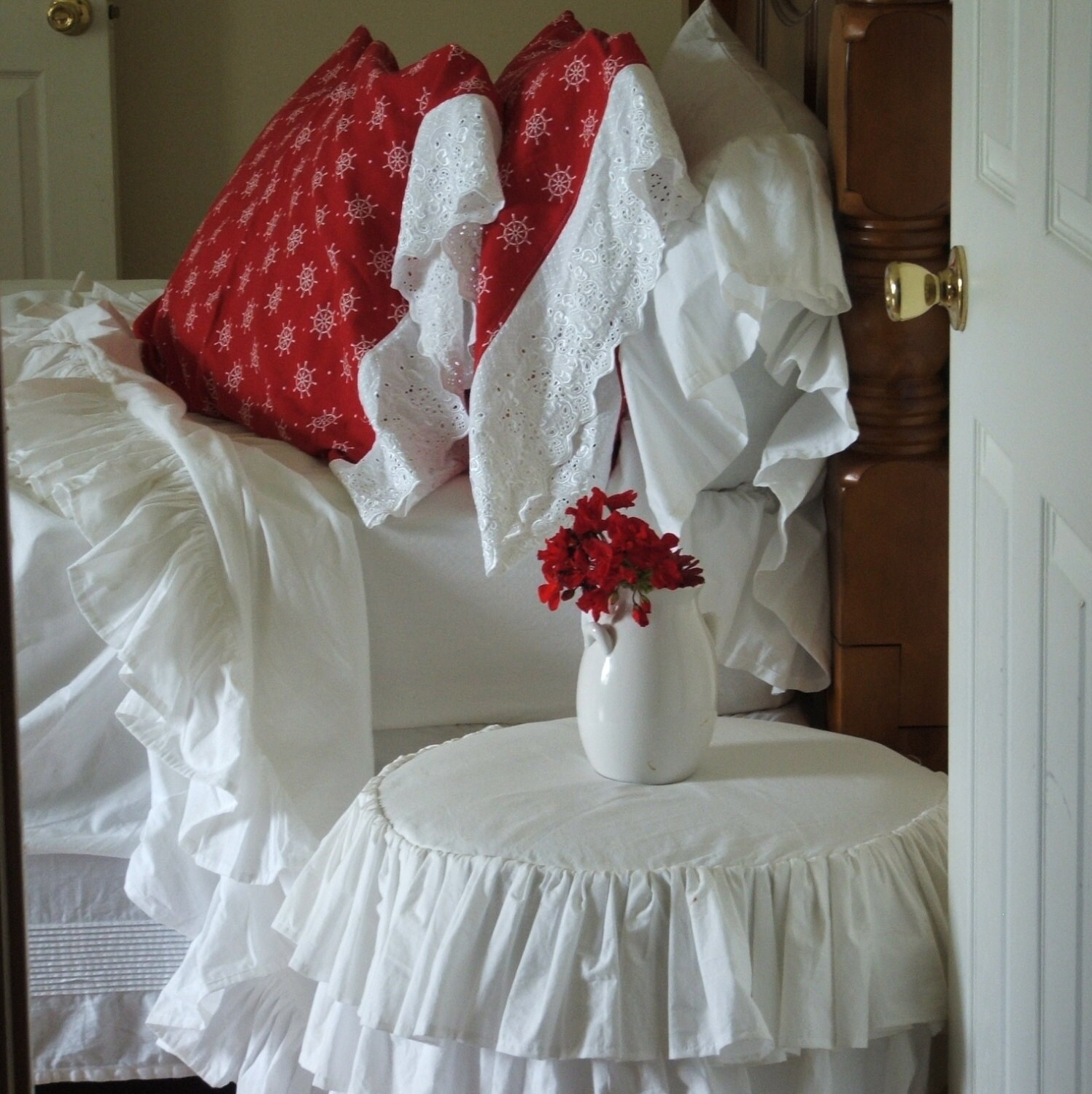 shabby chic pillowcases by MyThymeCreations on Etsy