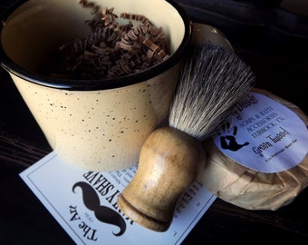 Shaving Mug Set Stoneware, Vintage Styled Shaving Mug,  Grooming Kit, Badger Brush, Handmade Soap