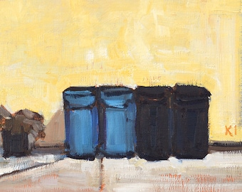Trash Cans in the Alley-  San Diego Painting