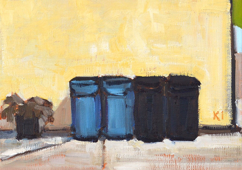 trash cans in the alley san diego painting. Black Bedroom Furniture Sets. Home Design Ideas