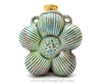 Daisy Flower Ceramic Bottle Pendant, Raku Clay Vessel, 1pc