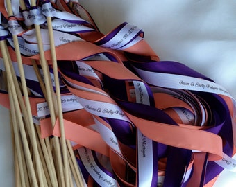 Wedding Wands - Set of 100 Triple Ribbon wedding wands no bell personalized christmas ribbon you pick your colors