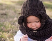boys bear cowl,  girl animal cowl, hooded cowl with button warm and cozy children fashion