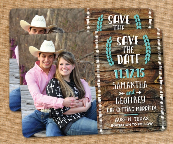 Rustic Save the Date Printed Cards customized with your photo -- Any Color, Rounded corners