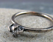 Rough Diamond Oxidized Sterling Silver Ring