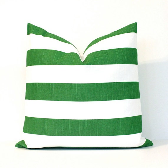 Kelly Green Throw Pillow : Kelly Green and White Stripe Decorative Designer Pillow Cover
