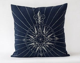 Compass Rose Pillow- Off White on Navy