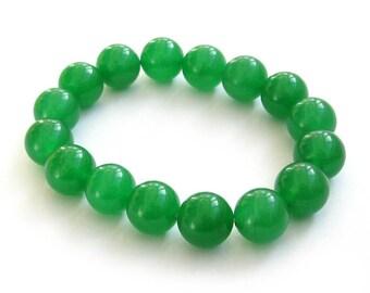12mm Emerald Green Stone Round Beaded Tibetan Prayer Beads Meditation Yoga Bracelet  T0490