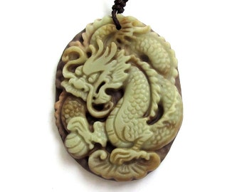 Two Layer Natural Stone Amulet Pendant Chinese Super Powerful Dragon Charm 45mm x 35mm  ZP014