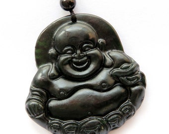 Dark Color Natural Stone Fortune Happy Coins Tibet Buddhist Buddha God Amulet Pendant Good Luck 46mm x 45mm  TH072