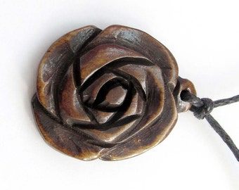 Ox Bone Carved Rose Flower Pendant 25mm x 22mm  T1227